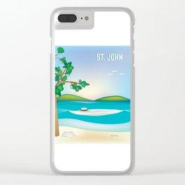 St. John, Virgin Islands - Skyline Illustration by Loose Petal Clear iPhone Case