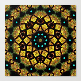 Bright Yellow Mosaic Symmetry Mandala Canvas Print