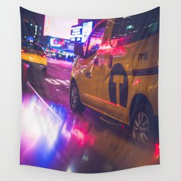 Taxi NYC Life (Color) Wall Tapestry