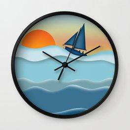 Sailboat Sunset - Sailing Ocean Coastal Wall Clock