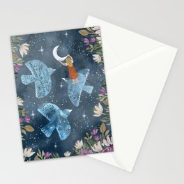 Birds and moon Stationery Cards