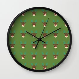 Cute deer pattern Christmas decorations retro colors green background Wall Clock