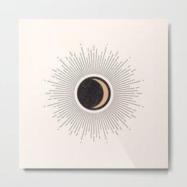 Mid Century Moon, Minimalist Geometric Abstract Art, Boho Decor, Black Sunburst Beige Crescent  Metal Print