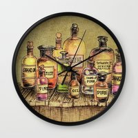 oil Wall Clocks featuring Snake Oil by Eric Fan