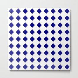rhombus and tartan 8–  blue and white Metal Print