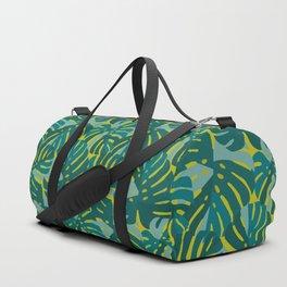 Monstera Leaves in Teal Duffle Bag
