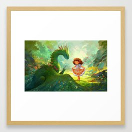 Pretty - Girl and Garden dragon Framed Art Print
