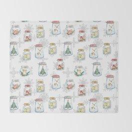 Christmas glass jars Throw Blanket