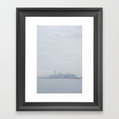 Manhattan in the mist Framed Art Print