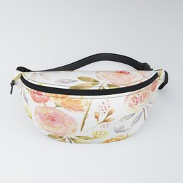 Acacia Vintage watercolored florals-White Fanny Pack
