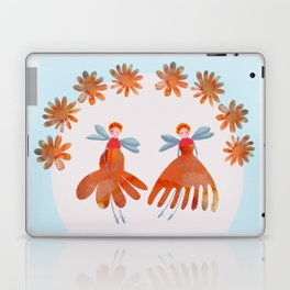 Summer Flower Fairies Watercolor Painting, Mischievous Floral Sprites in Orange & Pink Laptop & iPad Skin