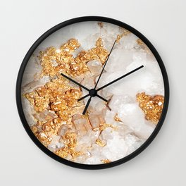 White and Rose Gold Crystal Wall Clock
