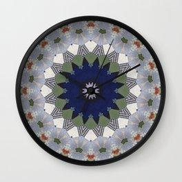 Patchwork Whimsy -- Vintage Block Quilt Mandala Kaleid0scope Wall Clock