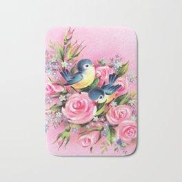 Spring Birds & Roses Bath Mat