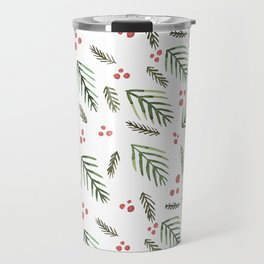Christmas tree branches and berries - vintage Travel Mug