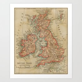 Vintage 1900 Map of The British Isles  Art Print