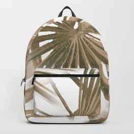 Brown on White Tropical Vibes Beach Palmtree Vector Backpack