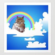 Momma Kitty & Rainbow Bridge Art Print