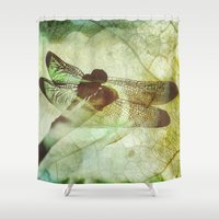 dragonfly Shower Curtains featuring Dragonfly by SpaceFrogDesigns