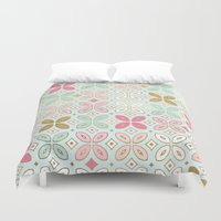 moroccan Duvet Covers featuring MOROCCAN TILE by Monika Strigel