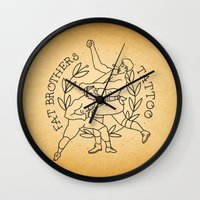 foo fighters Wall Clocks featuring The Fighters by Fat Brothers Tattoo Art Emporium