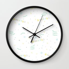 Summer Vibes Only - pattern design in pastel colors palette for T-shirts and other stuff Wall Clock