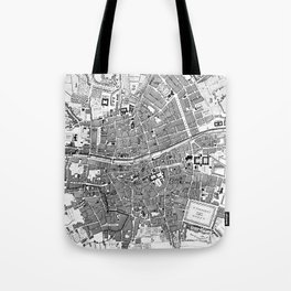 Vintage Map of Dublin Ireland (1797) BW Tote Bag