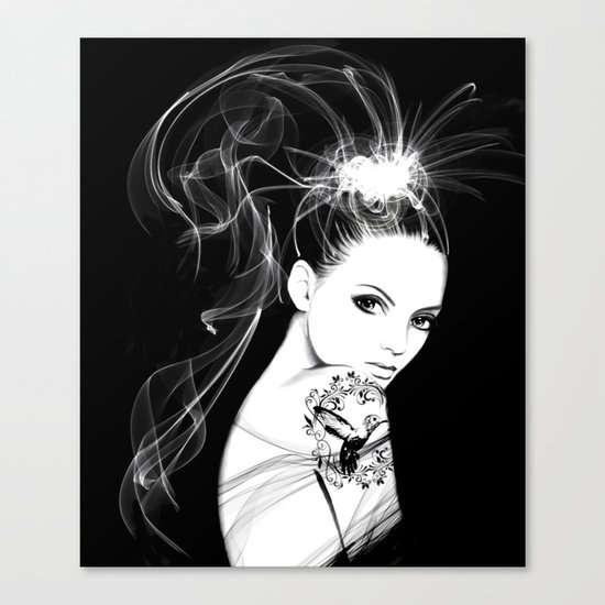 Smoke Girl Canvas Print