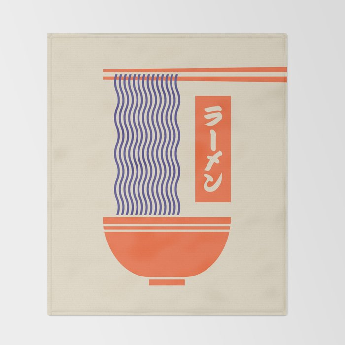 Ramen Japanese Food Noodle Bowl Chopsticks - Cream Throw Blanket