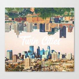 Skylines of Twin Cities Minneapolis and Saint Paul Minnesota Canvas Print