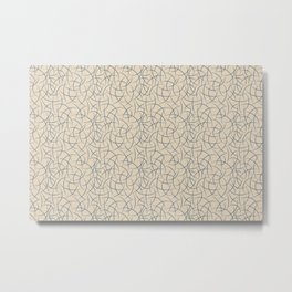 Calming Blue Abstract Crescent Shape Pattern on Beige - 2020 Color of the Year Chinese Porcelain Metal Print