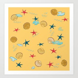 seashells and starfishes - yellow-orange Art Print