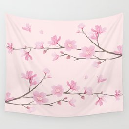 Cherry Blossom - Pink Wall Tapestry