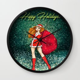 Happy Holidays I Wall Clock