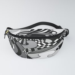 Grayscale Moto abstract Fanny Pack
