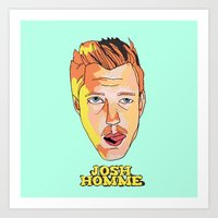 queens of the stone age Art Prints featuring Josh Homme, Queens of the Stone Age by Morgane Dagorne