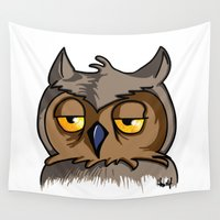 grumpy Wall Tapestries featuring Grumpy Owl by Michael Hewitt