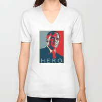 hero V-neck T-shirts featuring Hero by Skylofts Merch