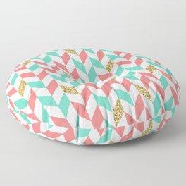 Mint Coral Gold Glitter Chevron Scatter Pattern Floor Pillow