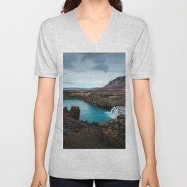 Lake Mountain sky blue Unisex V-Neck
