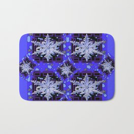 BLUE WINTER HOLIDAY SNOWFLAKES PATTERN ART Bath Mat