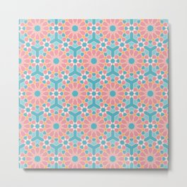 Colorful islamic pattern pink and blue Metal Print