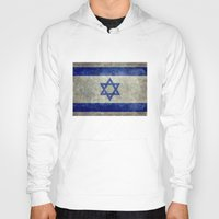palestine Hoodies featuring The National flag of the State of Israel - Distressed worn version by Bruce Stanfield