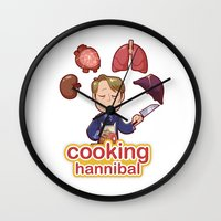 cooking Wall Clocks featuring Cooking Hannibal by Sabrina Cotugno