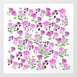 pinkish purple flowers pattern Art Print