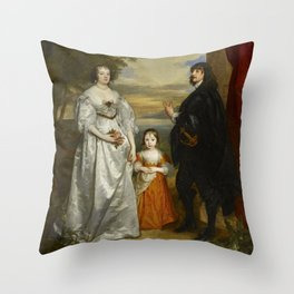 """Sir Anthony van Dyck """"James, Seventh Earl of Derby, His Lady and Child"""" Throw Pillow"""