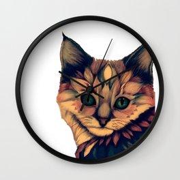 Boho chic cute kitty cat kitten beautiful tribal kawaii print drawing Wall Clock