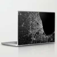 chicago map Laptop & iPad Skins featuring Chicago map by Line Line Lines