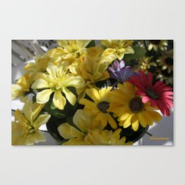 WHITTLE YELLOW BASKET OF FLOWERS Canvas Print