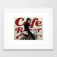 cafe racer Framed Art Prints featuring Cafe Racer Girl Poster by Graham Chmylowskyj
